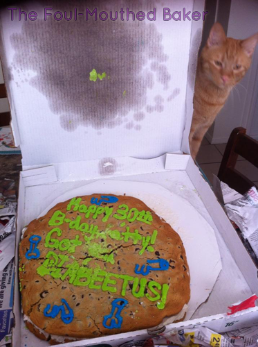 Seriously, that fuckin' pussy texted me pictures of him eating the cookie cake everyday for a week. Then, he texted me the pictures of him vomiting it up later.