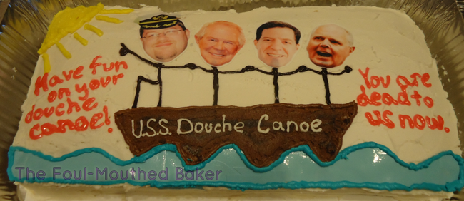 The U.S.S. Douche Canoe setting off into the sun!