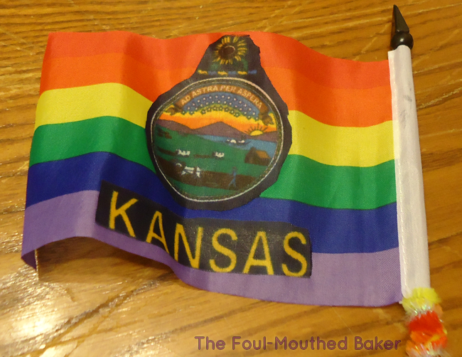 Make your own Kansas Pride flag! It's so easy a woman with the arts and crafts skills of a middle school girl can do it!